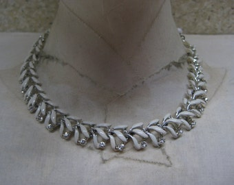 White Silver Rhinestone Necklace Clear Vintage Choker