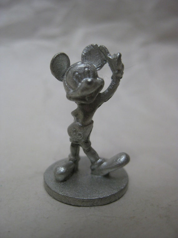 Mickey Mouse Figurine Pewter Vintage Miniature Metal Disney