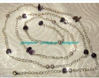 AMETHYST Long and Lovely Necklace. Free Shipping