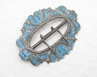 Victorian Sterling Buckle Antique Enamel Heart Blue M2705