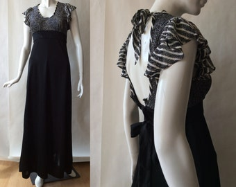 Vintage 1970's silver and black gown, scoop neck, with flutter cap sleeves and empire waist, extra small (size 0-2)