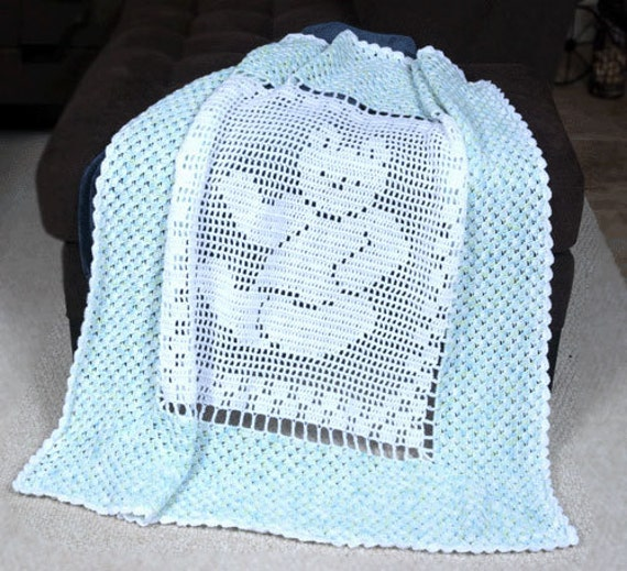 Free Teddy Bear Filet Crochet Afghan Pattern : 0700 Teddy Bear Baby Blanket Crochet Pattern