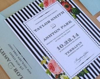 Garden Wedding Invitation Set, Botanical Invitation, French Floral Invitation, Pink and Black Invitation SAMPLE
