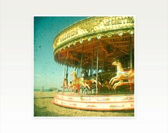 Nursery Art, Carnival Photography, Carousel Photo, Summer Fair, Beach Art, Gold, Aqua, Kids Wall Art - Carousel