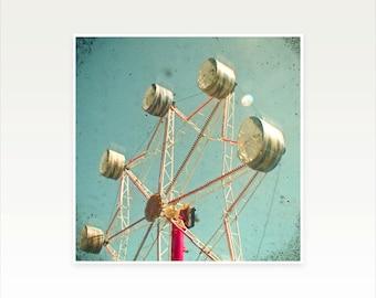 Ferris Wheel Photography, Nursery Art, Carnival Photography, Silver, Pastel Blue, Gift for Man, Kids Wall Art - Ferris Wheel