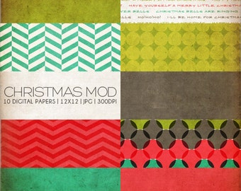 Christmas Mod Digital Paper Collection - 10 Digital Paper Designs - Great for Scrapbooking or Photographers - PX8005 Instant Download!