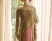 Green Kid Mohair Poncho Wrap Sage Green Fringes