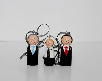 THREE Custom LDS Missionary Ornaments, Mission President and Missionary