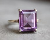 Amethyst ring - Prong set ring - Step cut ring - Sterling silver ring - February birthstone - Handmade - Gift for her