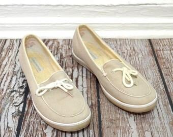 Womens Boat Shoes 8 1/2 - Tan Flats  - Women Loafers