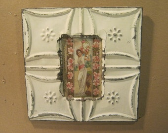 AUTHENTIC Tin Ceiling 4x6 Picture Frame Reclaimed Photo IVORY  S1521-13