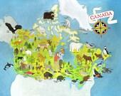 Animals of Canada Map (PRINT)
