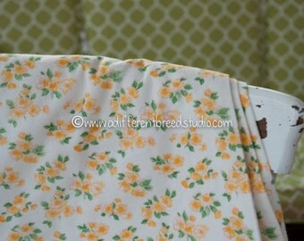 Pretty Yellow Flannel- Vintage Fabric 60s New Old Stock Quilts Dolls Shabby Chic