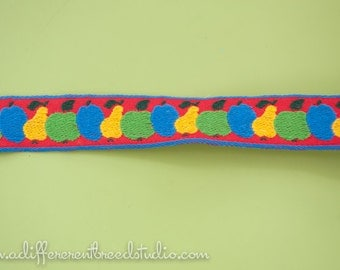 Fun Fruit  - 3 Yards Vintage Fabric Trim Embroidered New Old Stock Apples Pears Plums