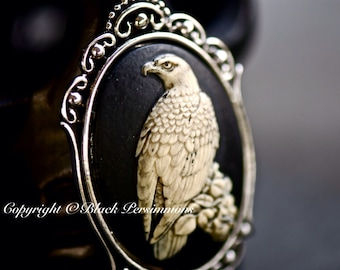 Raven Gothic Necklace - Ivory Black Bird Cameo - Free Domestic Shipping