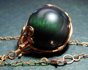 Rainbow Obsidian Sphere Pendant Necklace - Colorful Gemstone Crystal Ball Wire-Wrapped, Nickel Free Copper, Healing Hypoallergenic Jewelry