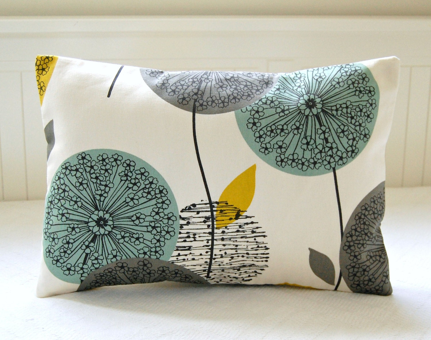 Decorative Pillow Cover Teal Grey Mustard Dandelion Sofa