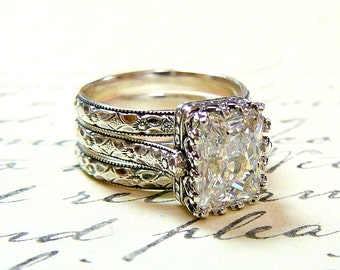 Vivienne Ring Trio - Vintage Style Sterling Silver Engagement Ring Trio with Radiant CZ and Tiara Crown bezel - Wedding