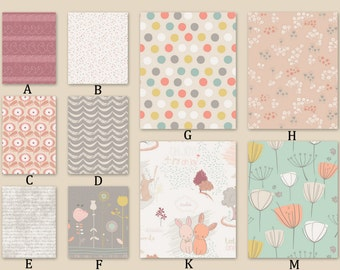 Peach, Gray and Mint Custom Crib Baby Bedding Littlest Rose Woods