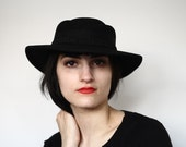 Stunning 100% Wool Black Wide Brim Hat with Cameo