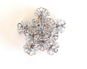Vintage Coro PIn 1970s Costume Jewelry Brooch Blue Rhinestones Flower Form Coro