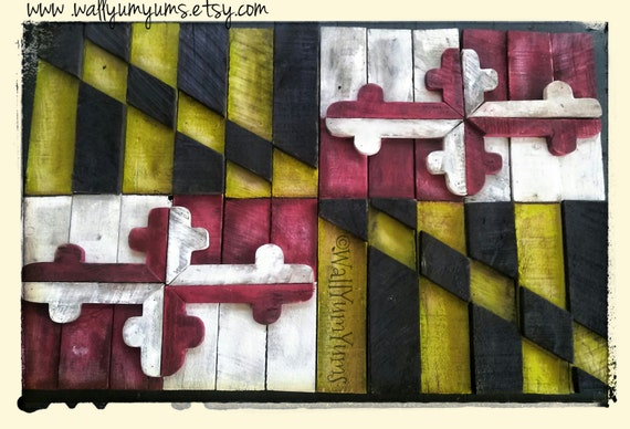 3D MARYLAND FLAG 42x27 Wooden Reclaimed Recycled Plaque Layered Vintage Wood  Wall Weathered Sign. ◅ - 3D MARYLAND FLAG 42x27 Wooden Reclaimed Recycled Plaque