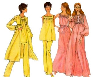 Vogue 7971 1970s Misses Square Neck Nightgown Pajamas and Lace Robe Pattern Womens Vintage Sewing Pattern Size 14 Bust 36