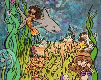 Mako Polo Mermaids + Shark Original lowbrow Cartoon ocean fantasy acrylic Painting fun art