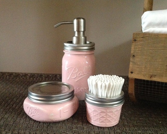 The original 3 pc mason jar bath set bath accessories for Bathroom accessories pink