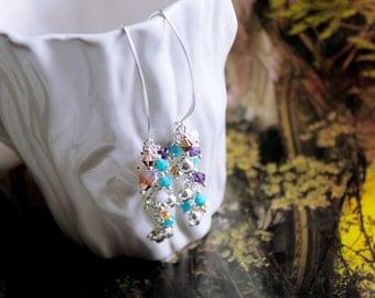 Cascade Swarovski Crystal Sterling Silver Earrings/ Elephant