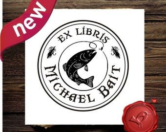 EX LIBRIS Stamp Fly Fishing Book Plate Stamp From The Library of Custom rubber stamp - style 1579