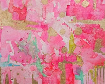 Watercolor Pink Abstract Original Painting-Wall Decor-Wall Art-Modern Art