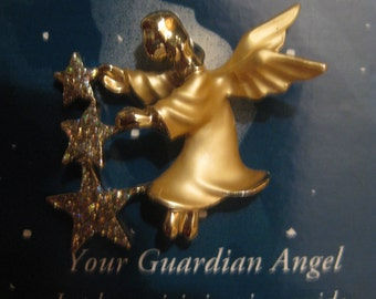 Vintage Angel Pin with Glittery Stars Angelica with Gift Display Box