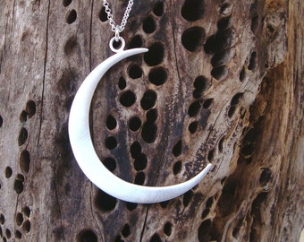 Moon Necklace Crescent  Moon Pendant Large Moon Necklace Sterling Silver Moon Necklace Moon Jewelry for Her bridesmaid gift Christmas charm