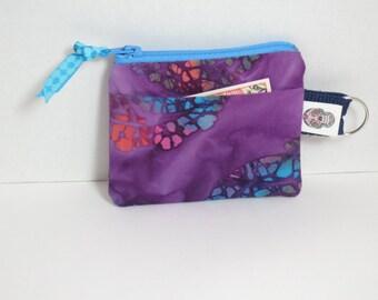 Batik Keychain Coin Purse - Purple tye dye Coin Pures - Bali Batik coin purse - Batik fabric coin purse Id holder