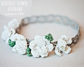 Crochet PATTERN  - Boutique Flower Headband (sizes - baby to adult)