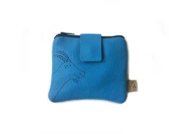 blue leather wallet goat