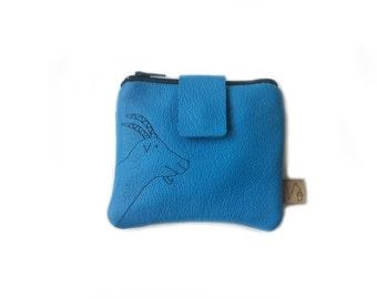 blue leather wallet goat