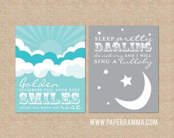 Golden Slumbers, Beatles, grey & aqua // Set of Two Nursery / Kids Room Art Prints // Choose your own colors // N-G04-2PS AA1
