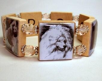 POODLE JEWELRY / Scrabble Bracelet / Dog Lover Gift / Handmade / Vintage Art