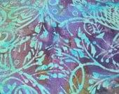 Scrumptious Blue Aqua Green and Purple Scroll Batik Cotton Fabric