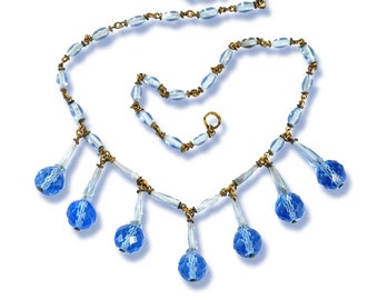 Art Deco Necklace, Blue Crystal Bead Necklace, Blue Czech Glass Necklace, Bib Necklace Choker, Vintage 1920s Jewelry Antique Jewelry