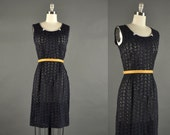 1950s Dress /  lace day dress / 50s dress/ black dress
