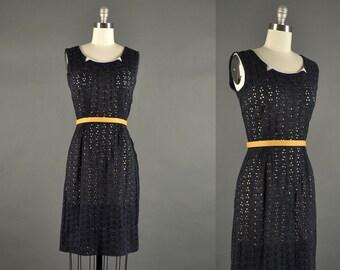 1950s Dress /  lace day dress / 50s dress/ black dress