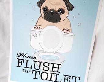 Flush Toilet Pug - 8x10 Eco-friendly Print