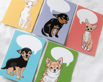 Convo Chihuahua Flat Notecards - Eco-friendly Set of 5