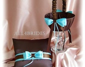 Wedding flower girl basket and ring bearer pillow, chocolate brown and blue weddings ceremony decor