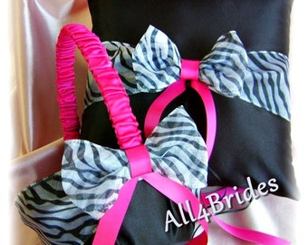 Zebra wedding flower girl basket and ring bearer pillow, black, hot pink fuchsia and zebra wedding ring cushion and basket set