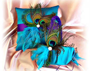 Peacock Weddings ring bearer pillow and basket - regency purple and turquoise - peacock feaher wedding accessories