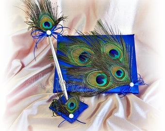Peacock Wedding Guest Book in Royal Blue, guest book pen set.